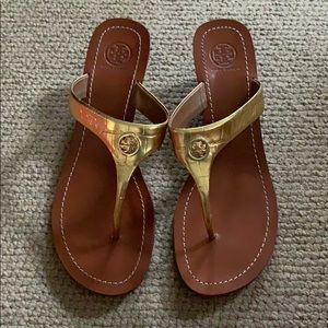 Gold wedge Cameron sandals by Tory Burch